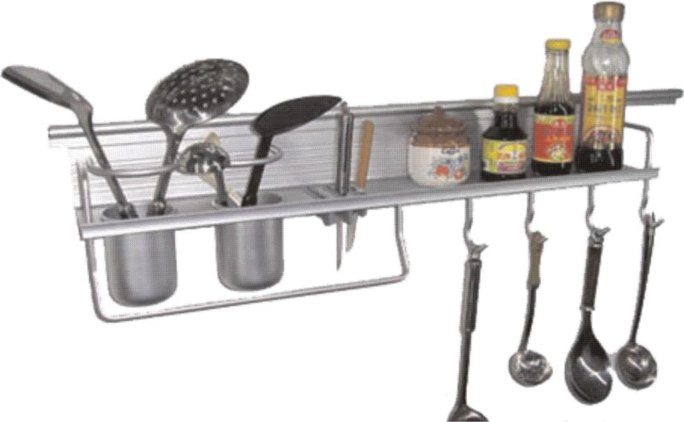 Кухненски стенен аксесоар с две чашки за поставяне на готварски прибори  Лавица  Закачалки