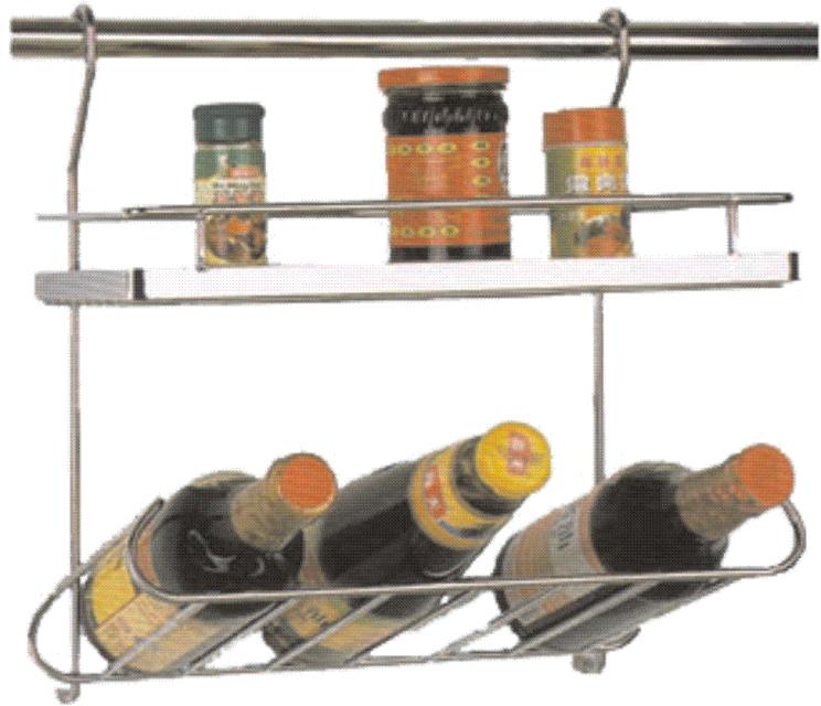 Кухненски стенен аксесоар с лавица и място за бутилки