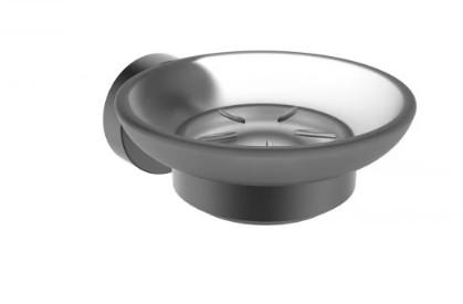 Стъклена сапунерка Makena Round черен мат