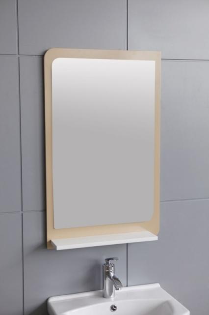 Бежово огледало с PVC рамка и лавица с размери: 80*60