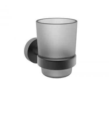Чаша за четки за зъби Makena Round черен мат