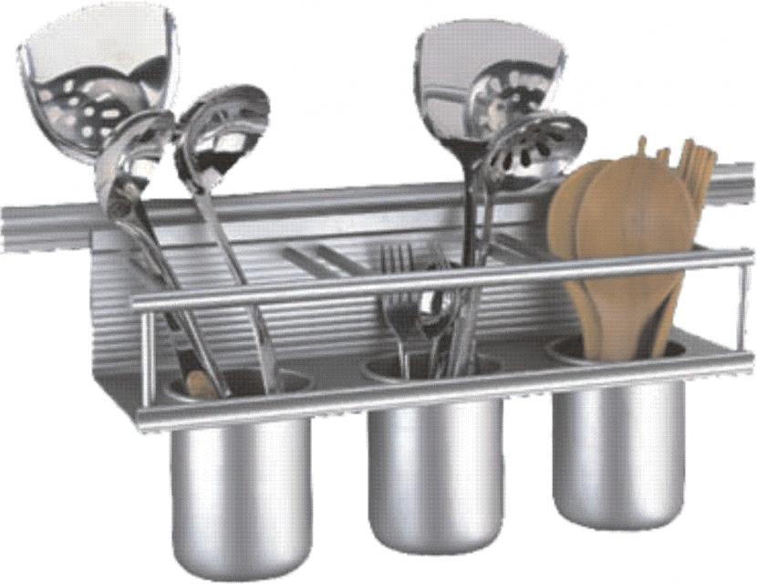 Описание  Кухненски стенен аксесоар с три чашки за поставяне на готварски прибори