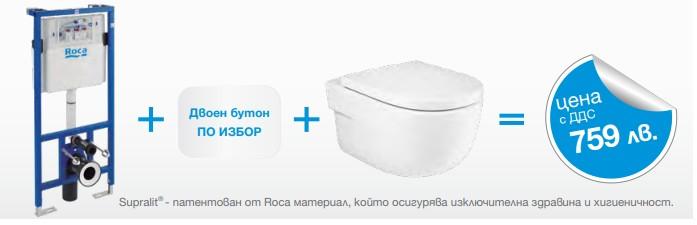 Окачена тоалетна MERIDIAN RIMLESS + структура