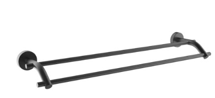 Двойна поставка за хавлии Makena Round черен мат